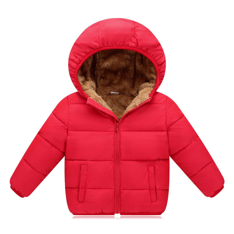 Kids Solid Color Hooded Jacket