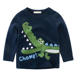 Boy Toddler Long-Sleeved Crew Neck Dinosaur T-shirt