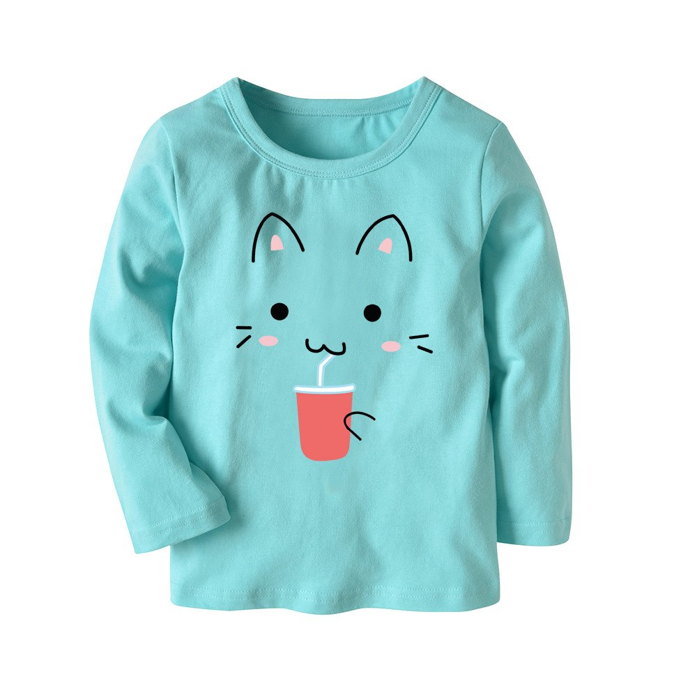 Boys/girls toddler cotton long-sleeved  cartoon T-shirt (mult. colors)