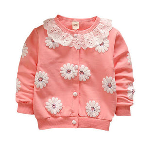Toddler Girls Cotton Flower Print Lace Collar Jacket 3 colors
