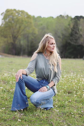 Sage Acid Wash Cold Shoulder