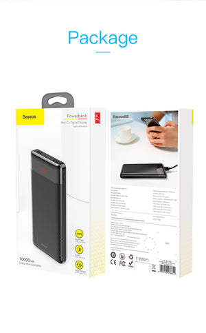 Baseus 10000mAh Power Bank Dual USB LCD box - gadgets and mobile