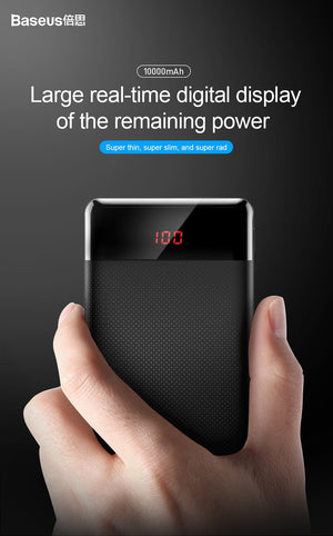Baseus 10000mAh Power Bank Dual USB LCD display - gadgets and mobile