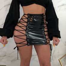 Faux Leather Open Lace Up Skirt