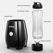 Smoothie Blender AICOK Personal Blenders Single Serve for Shakes and Smoothies with 20 oz Tritan BPA-Free Bottle, Detachable Blade Assembly, 300W, Black