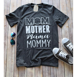 Mom Mommy Graphic Tee -- Dark Grey