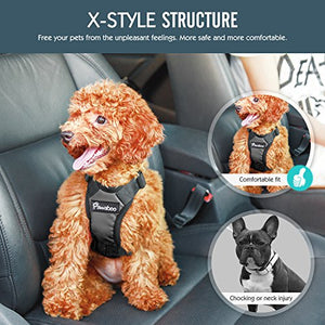 Pawaboo Dog Safety Vest Harness, Pet Dog Adjustable Car Safety Mesh Harness Travel Strap Vest with Car Seat Belt Lead Clip, Suitable for 11 lb-33 lb Dogs, BLACK