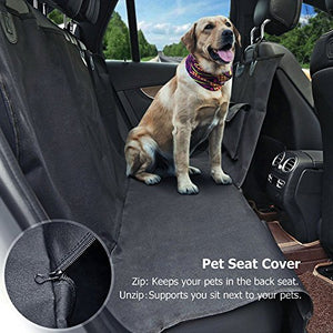 Pet Seat Cover Car Seat Cover for Dogs - Waterproof & Hammock Convertible, Scratch Proof, Durable and Washable Pet Seat Covers with Pockets for Cars Trucks and SUVs