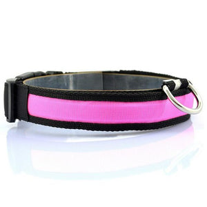 Nylon LED Pet Dog Collar Night Safety Anti-lost Flashing Glow Collars Dog Supplies 7 colors S M L XL Size for pet dogs