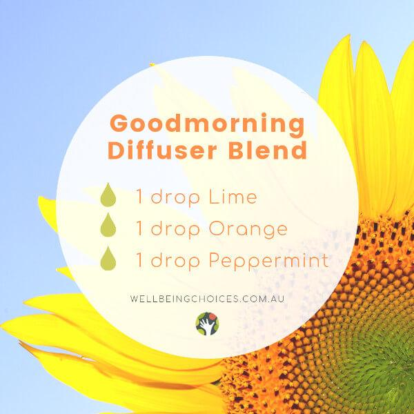 Good morning Diffuser blend with Lime Orange and Peppermint essential oils Droplets of Wellbeing