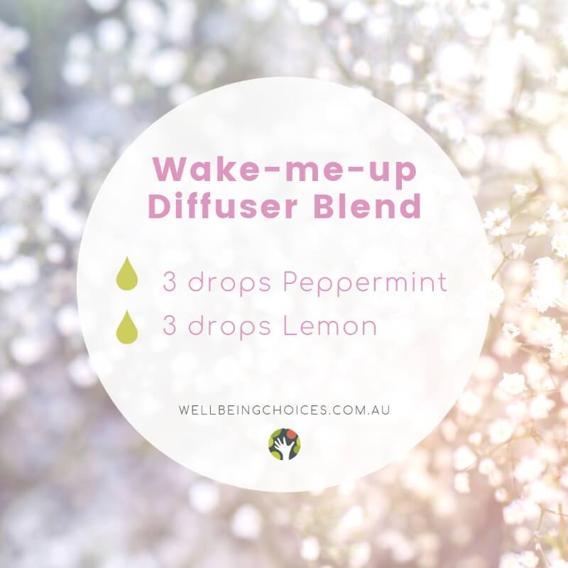 Wake me up Diffuser blend with peppermint and lemon essential oils at Wellbeing Choices