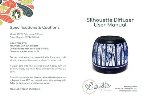 Silhouette 500ml Diffuser Operating Instructions Outside pages Wellbeing Choices