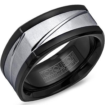Crownring Torque Men's Black Cobalt and Gold Wedding Band