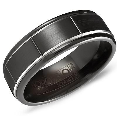 Crownring Torque Men's Black Cobalt and White Cobalt Edges Wedding Band For Men