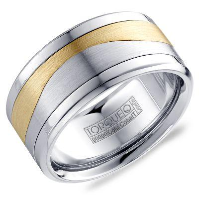 Crownring Torque Men's White Cobalt and White Gold Wedding Band