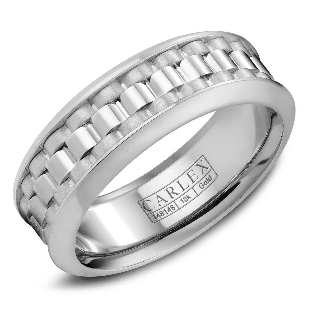 Crowning Luxury Ring In White Gold 8mm Carlex Collection