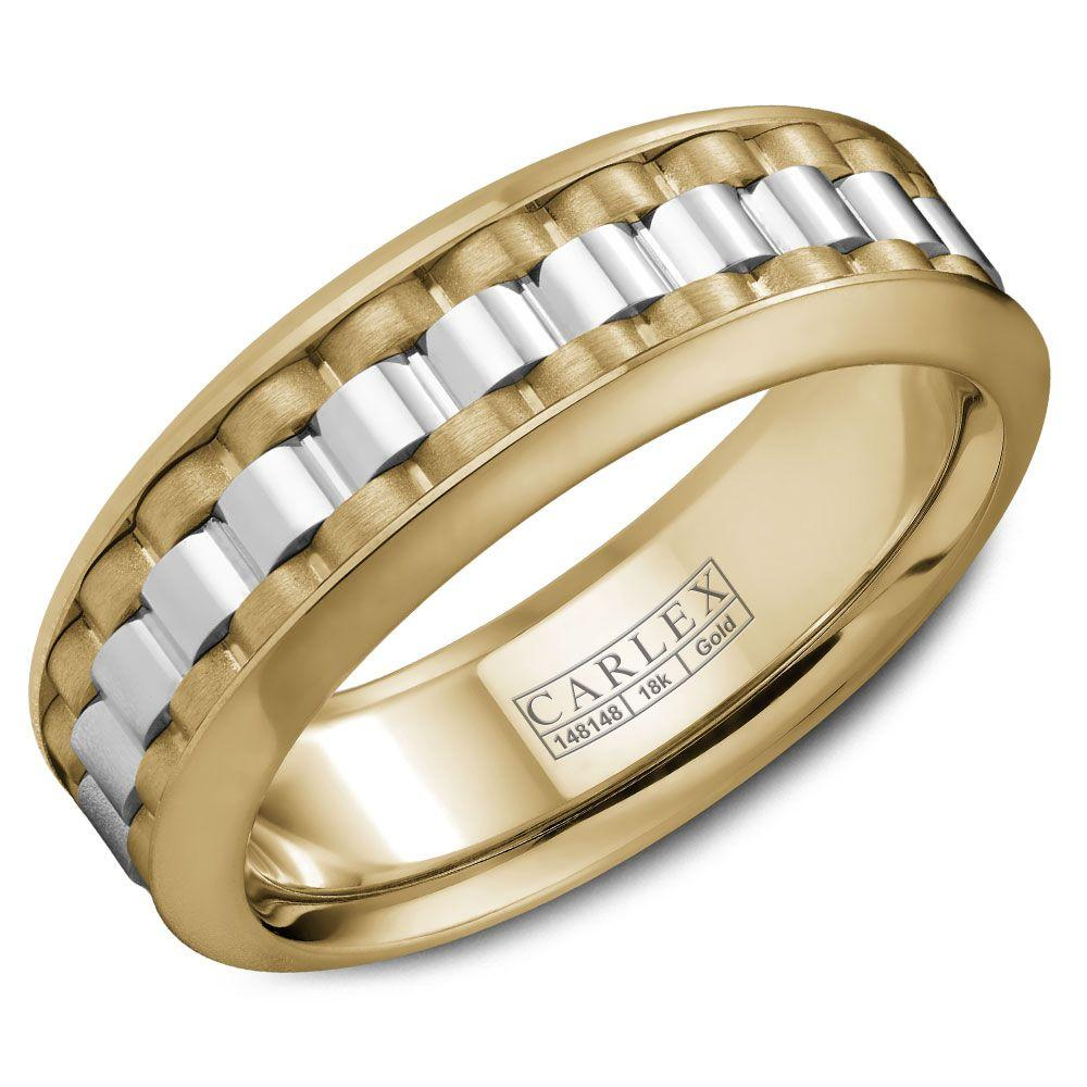 Crowning Luxury Ring In Yellow Gold and White Gold 8mm Carlex Collection