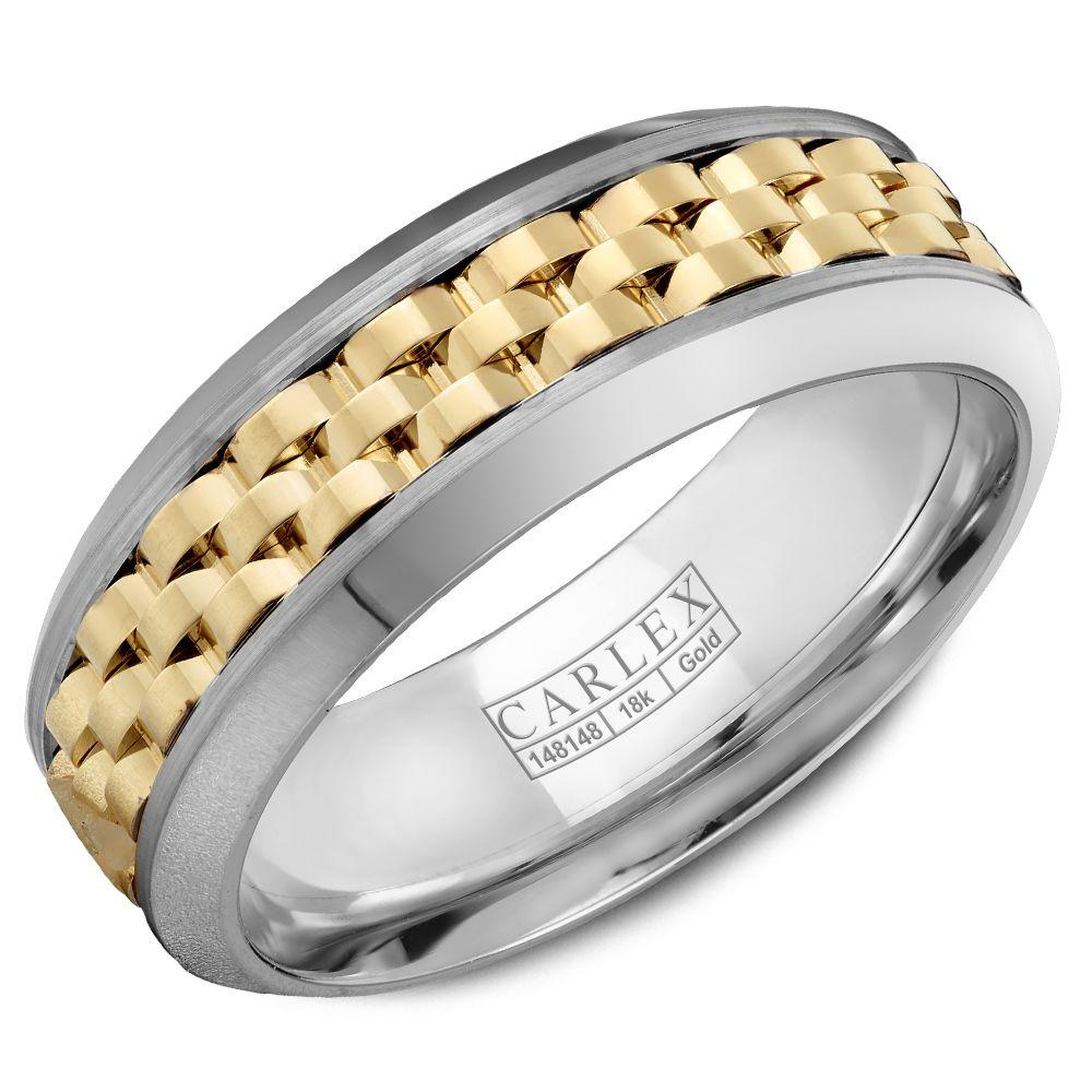 Crowning Luxury Ring In White Gold and Yellow Gold 7.5mm Carlex Collection