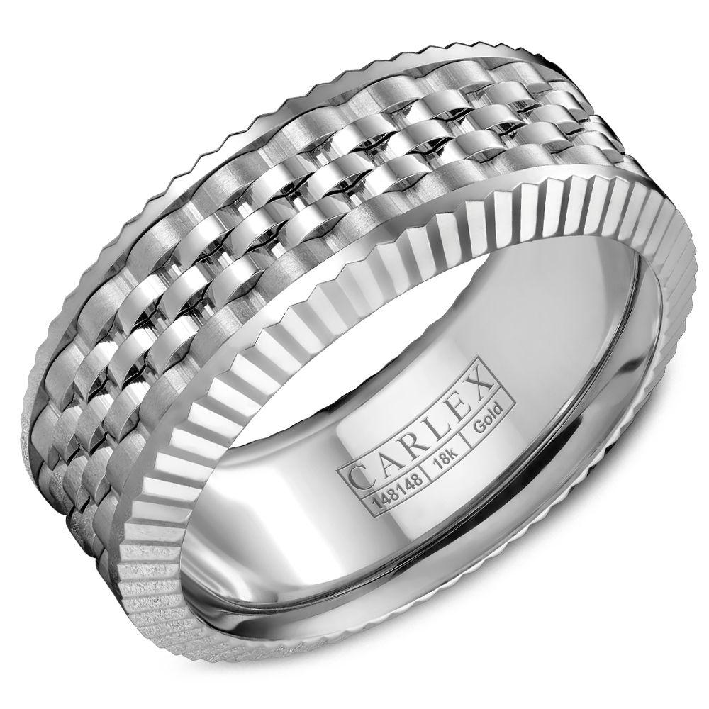Crowning Luxury Ring In White Gold 8.5mm Carlex Collection