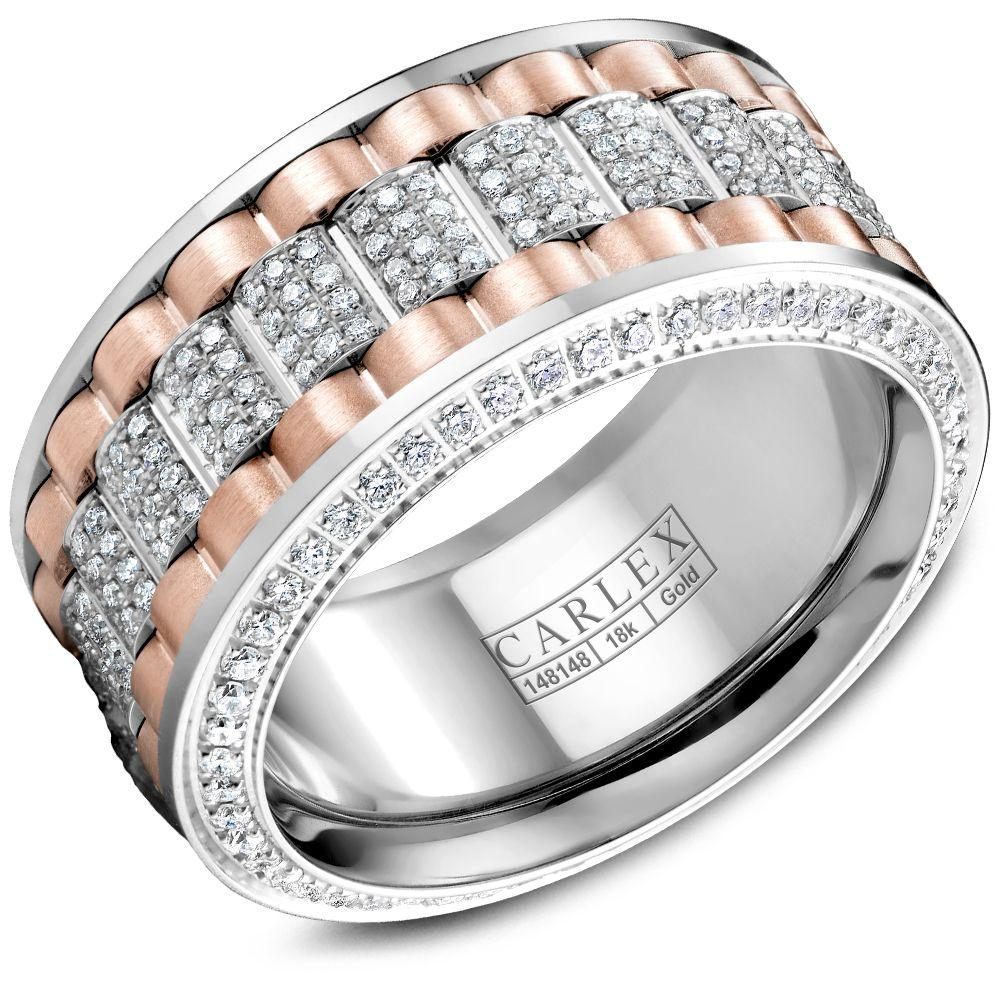 Crowning Luxury Ring In White Gold and Rose Gold 11mm with 370 Round Diamonds Carlex Collection