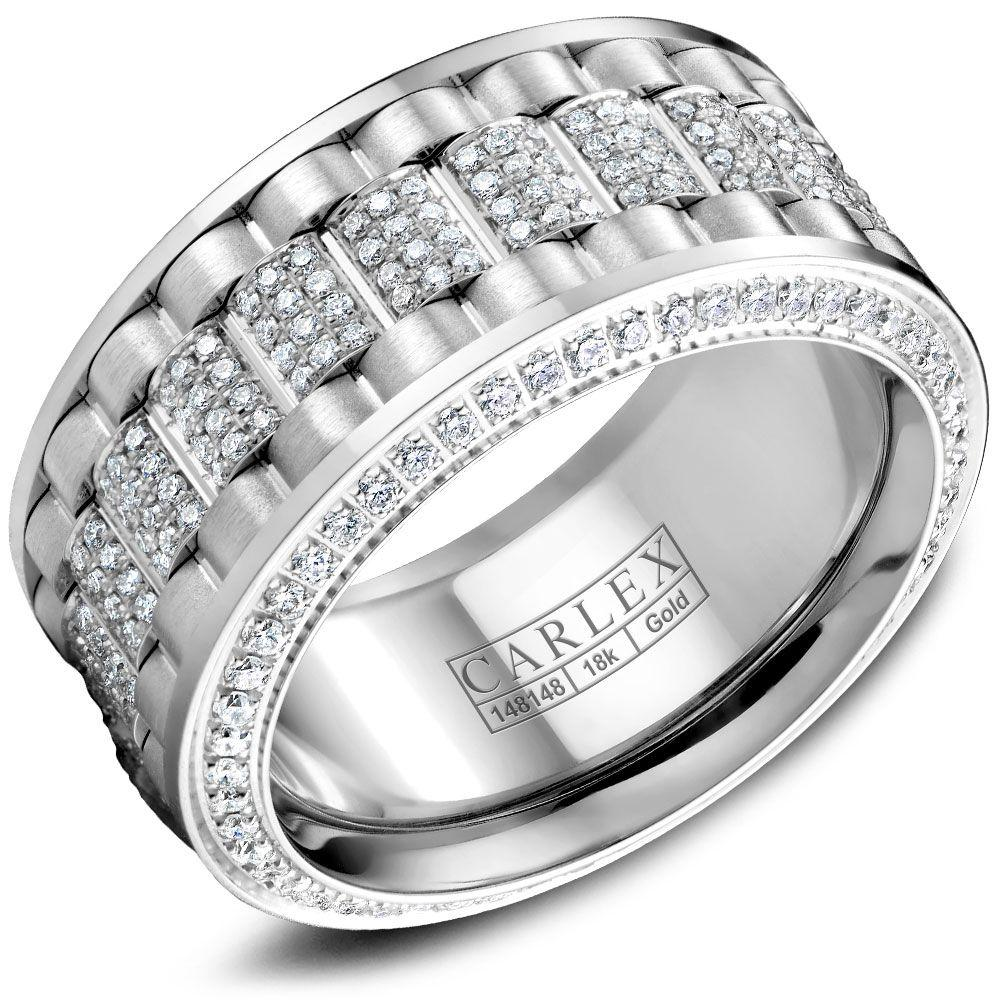Crowning Luxury Ring In White Gold 11mm with 370 Round Diamonds Carlex Collection