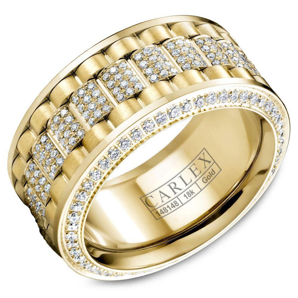 Crowning Luxury Ring In Yellow Gold 11mm with 370 Round Diamonds Carlex Collection
