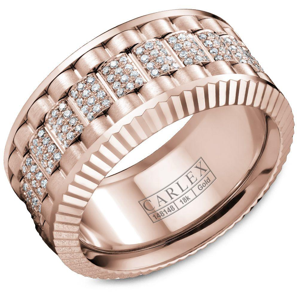Crowning Luxury Ring In Rose Gold 11mm with 264 Round Diamonds Carlex Collection