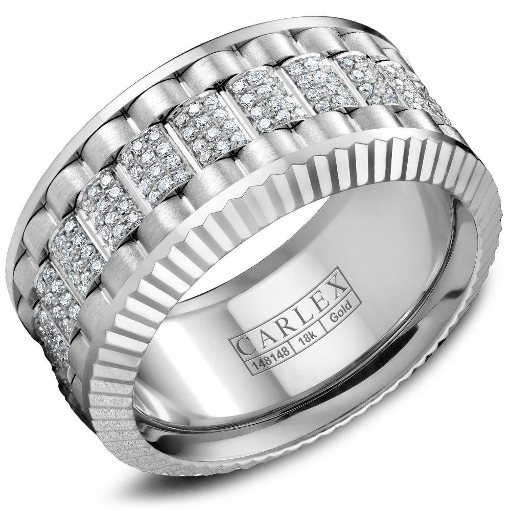 Crowning Luxury Ring In White Gold 11mm with 264 Round Diamonds Carlex Collection