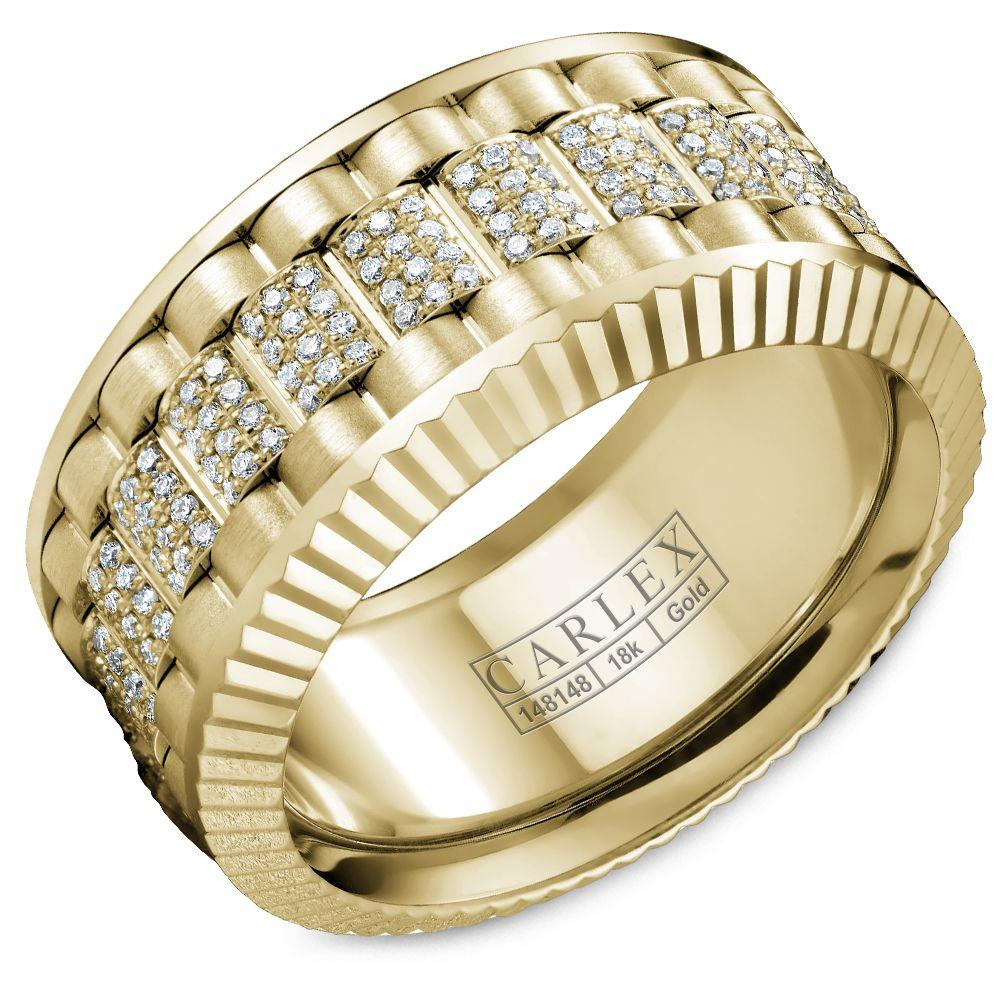 Crowning Luxury Ring In Yellow Gold 11mm with 264 Round Diamonds Carlex Collection