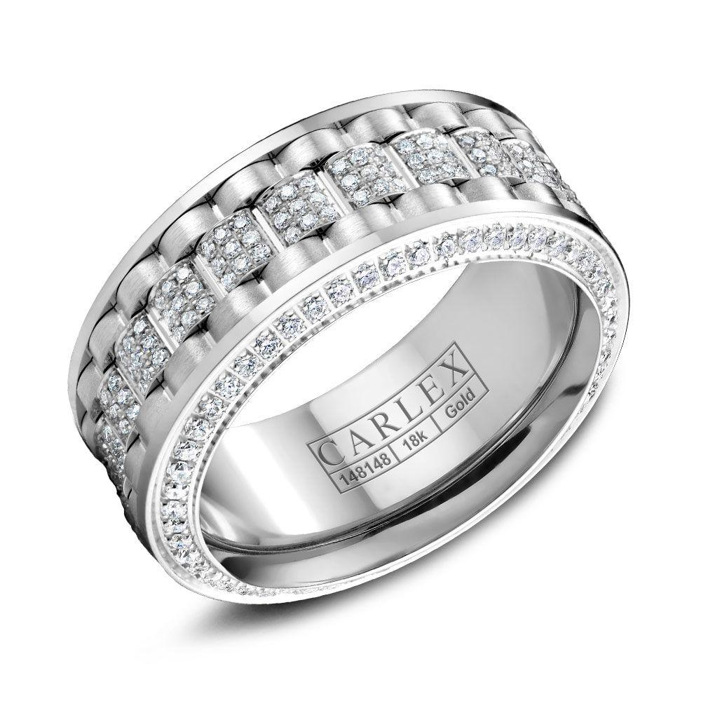 Crowning Luxury Ring In White Gold 9mm with 274 Round Diamonds Carlex Collection