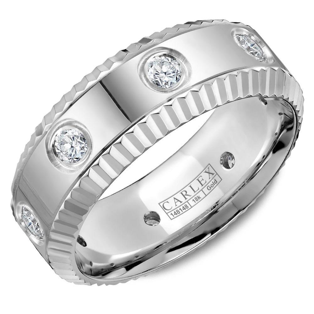 Crowning Luxury Ring In White Gold 8mm with 8 Round Diamonds Carlex Collection