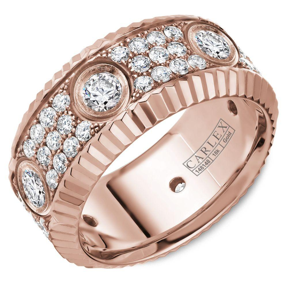 Crowning Luxury Ring In Rose Gold 9mm with 72 Round Diamonds Carlex Collection