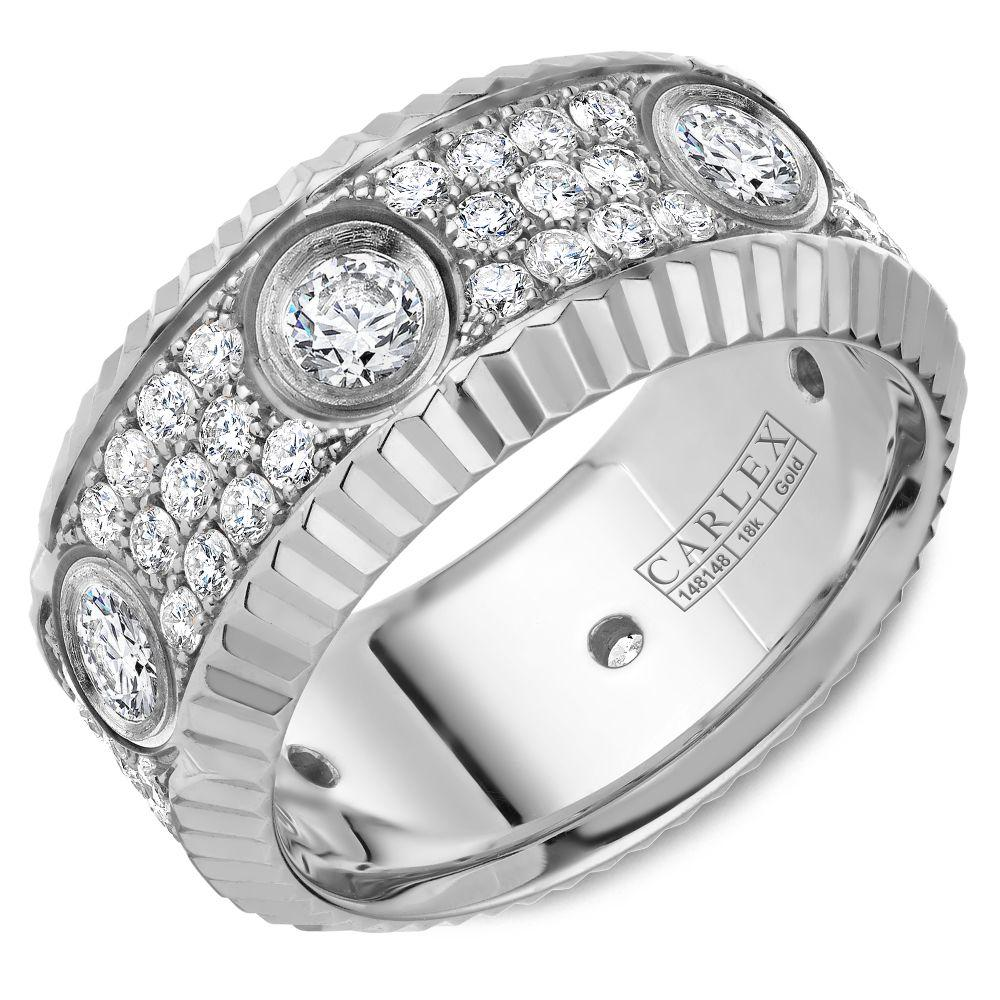 Crowning Luxury Ring In White Gold 9mm with 72 Round Diamonds Carlex Collection