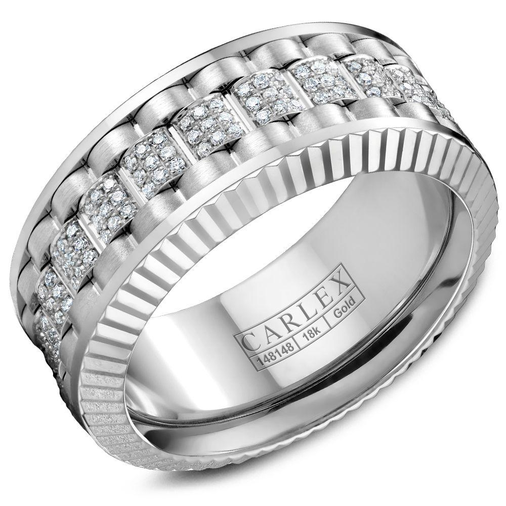 Crowning Luxury Ring In White Gold 9mm with 198 Round Diamonds Carlex Collection