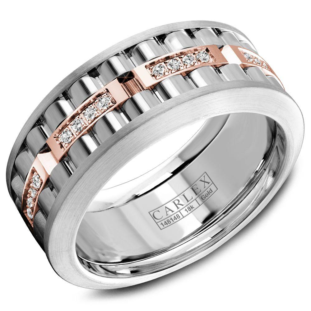 Crowning Luxury Ring In White Gold and Rose Gold 8.5mm with 32 Round Diamonds Carlex Collection