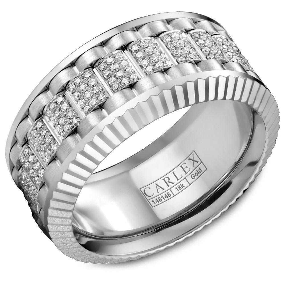 Crowning Luxury Ring In White Gold and Rose Gold 10mm with 264 Round Diamonds Carlex Collection