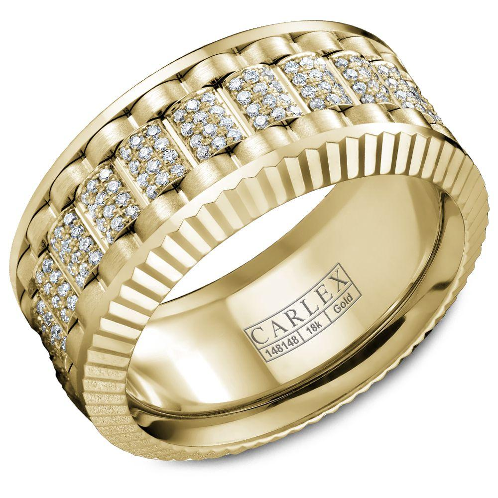 Crowning Luxury Ring In Yellow Gold and Rose Gold 10mm with 264 Round Diamonds Carlex Collection