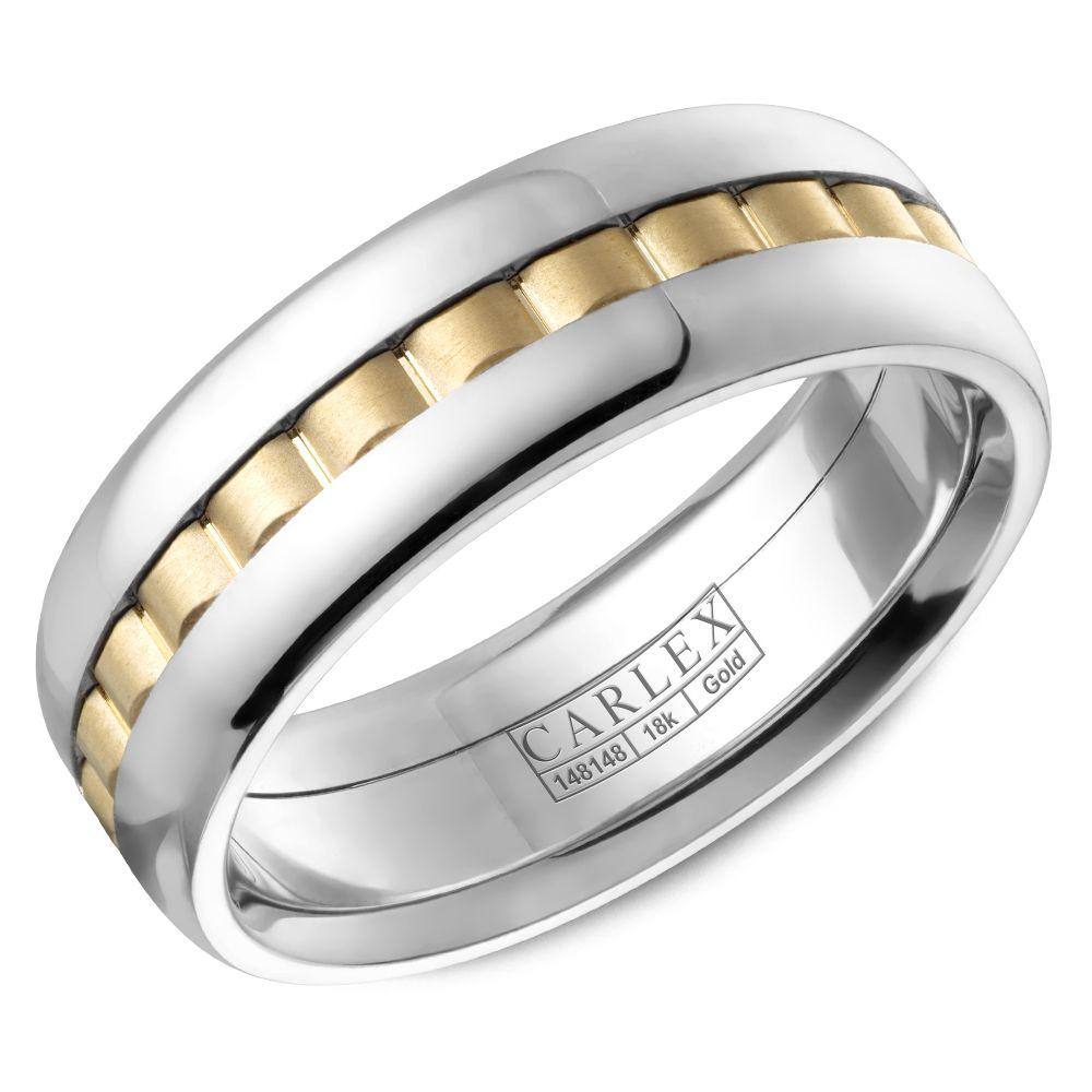Crowning Luxury Ring In White Gold and Yellow 7.5mm Carlex Collection