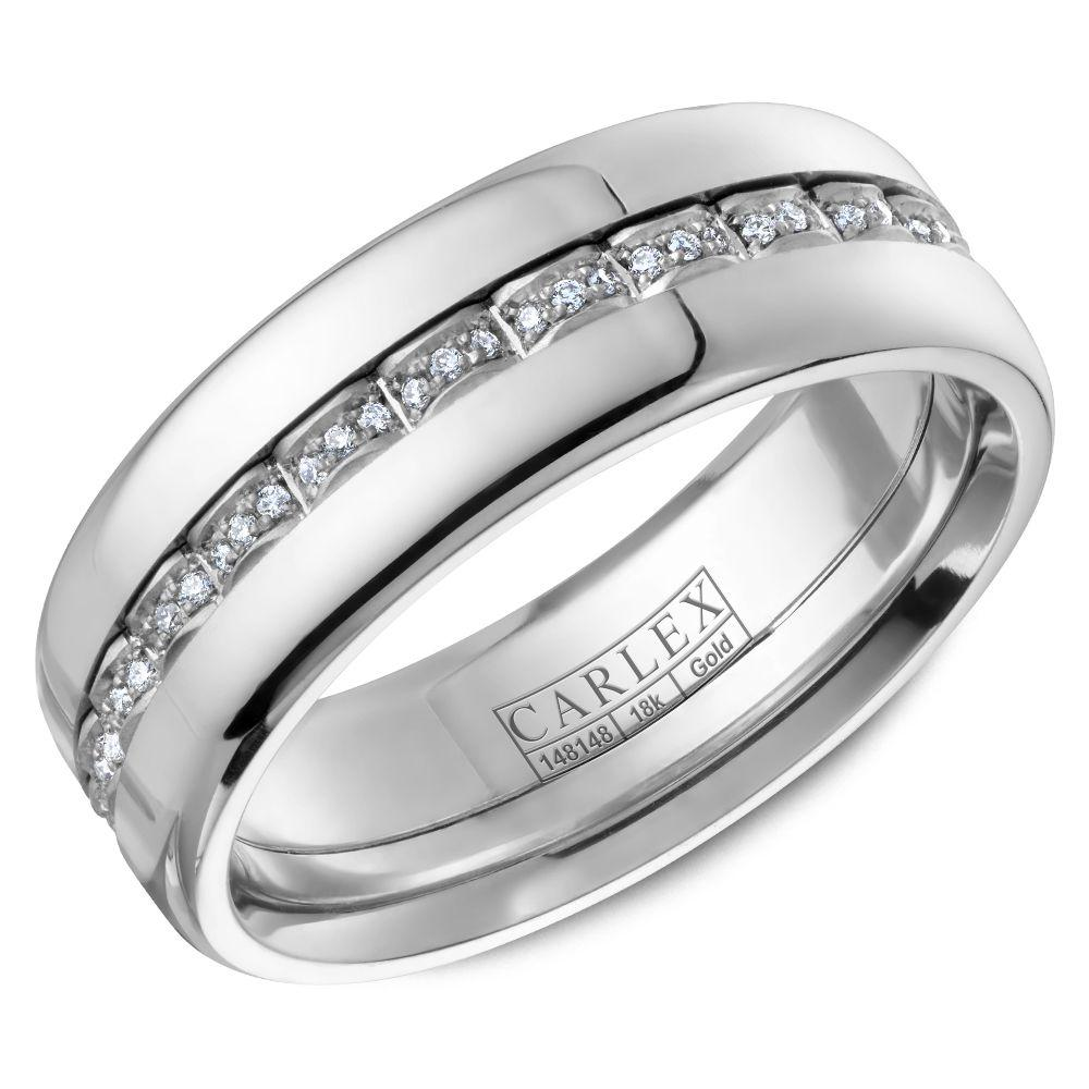 Crowning Luxury Ring In White Gold 7.5mm with 72 Round Diamonds Carlex Collection