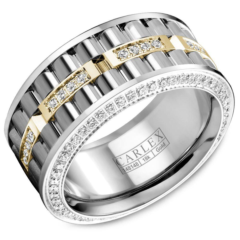 Crowning Luxury Ring In White and Yellow Gold Center with 138 Round Diamonds Carlex Collection
