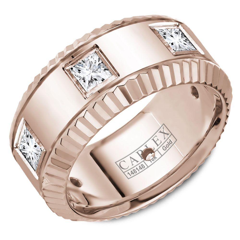 Crowning Luxury Ring In Rose Gold Center 9mm with 6 Princess Cut Diamonds Carlex Collection