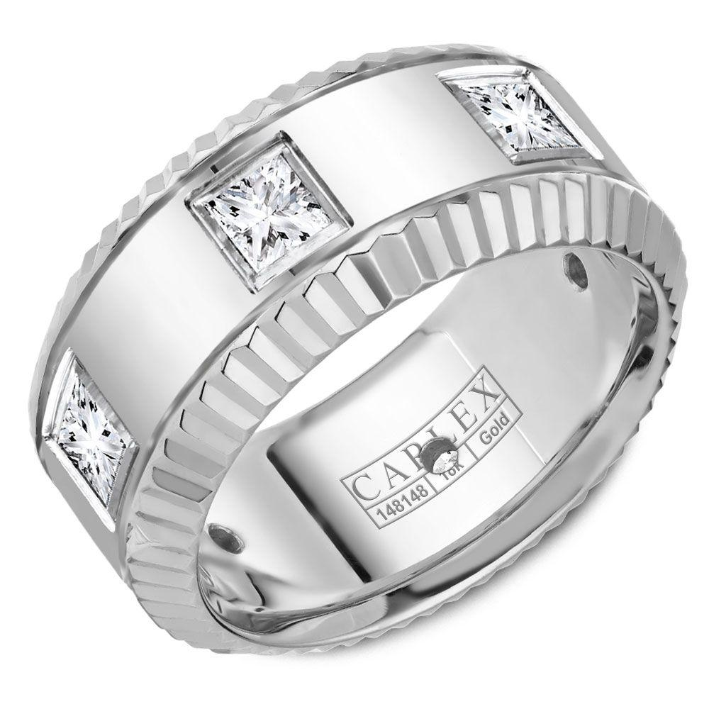 Crowning Luxury Ring In White Gold Center 9mm with 6 Princess Cut Diamonds Carlex Collection