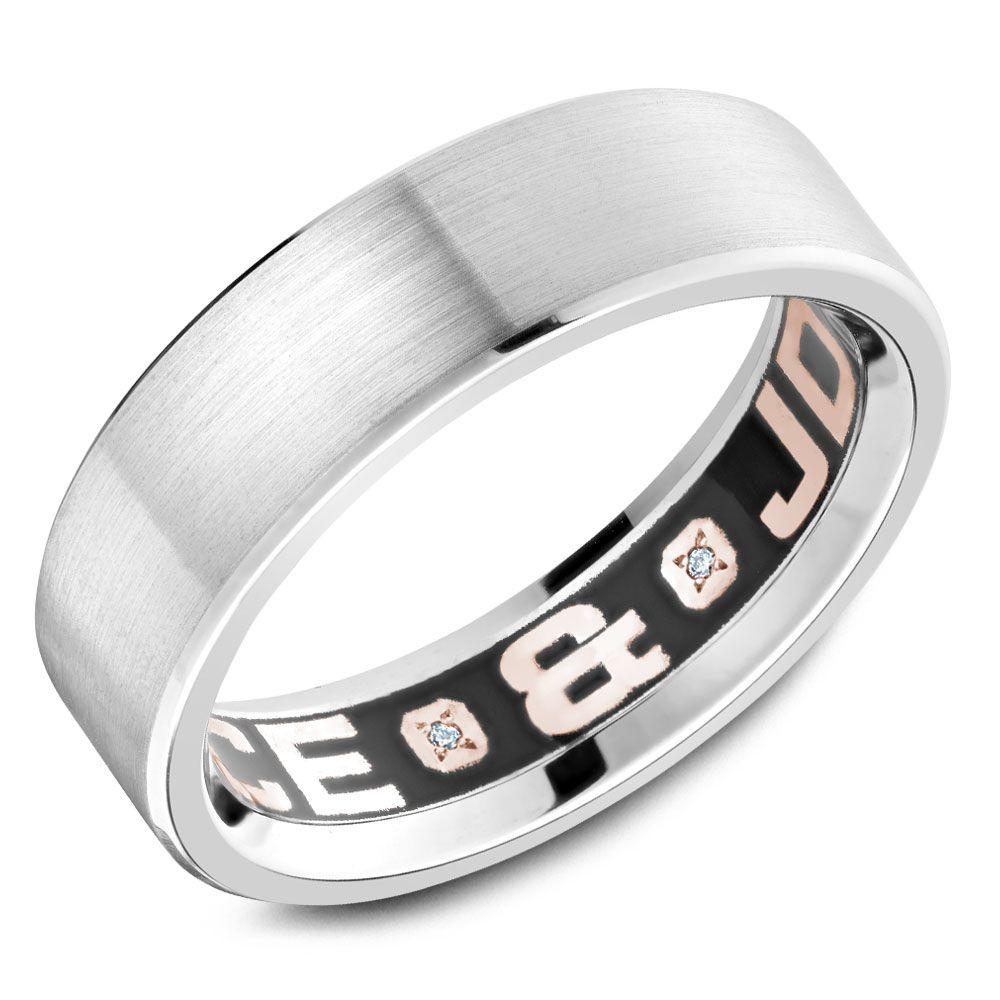 Crowning Luxury Ring In White Gold and Rose Gold 6.5mm Carlex Collection