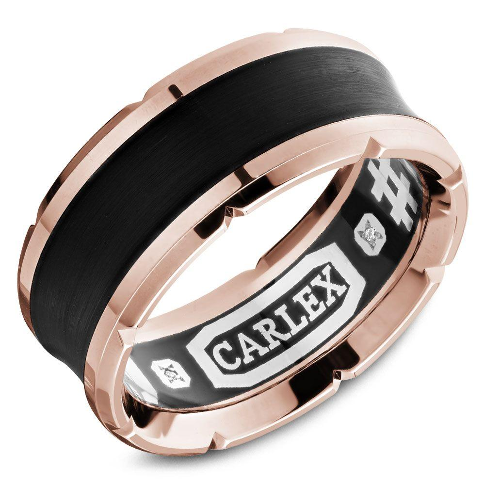 Crowning Luxury Ring In Black and Rose Gold 9.5mm Carlex Collection