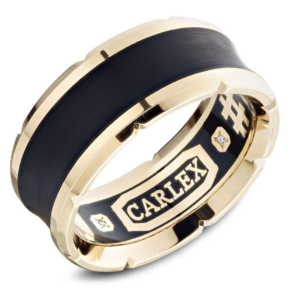 Crowning Luxury Ring In Black and Yellow Gold 9.5mm Carlex Collection