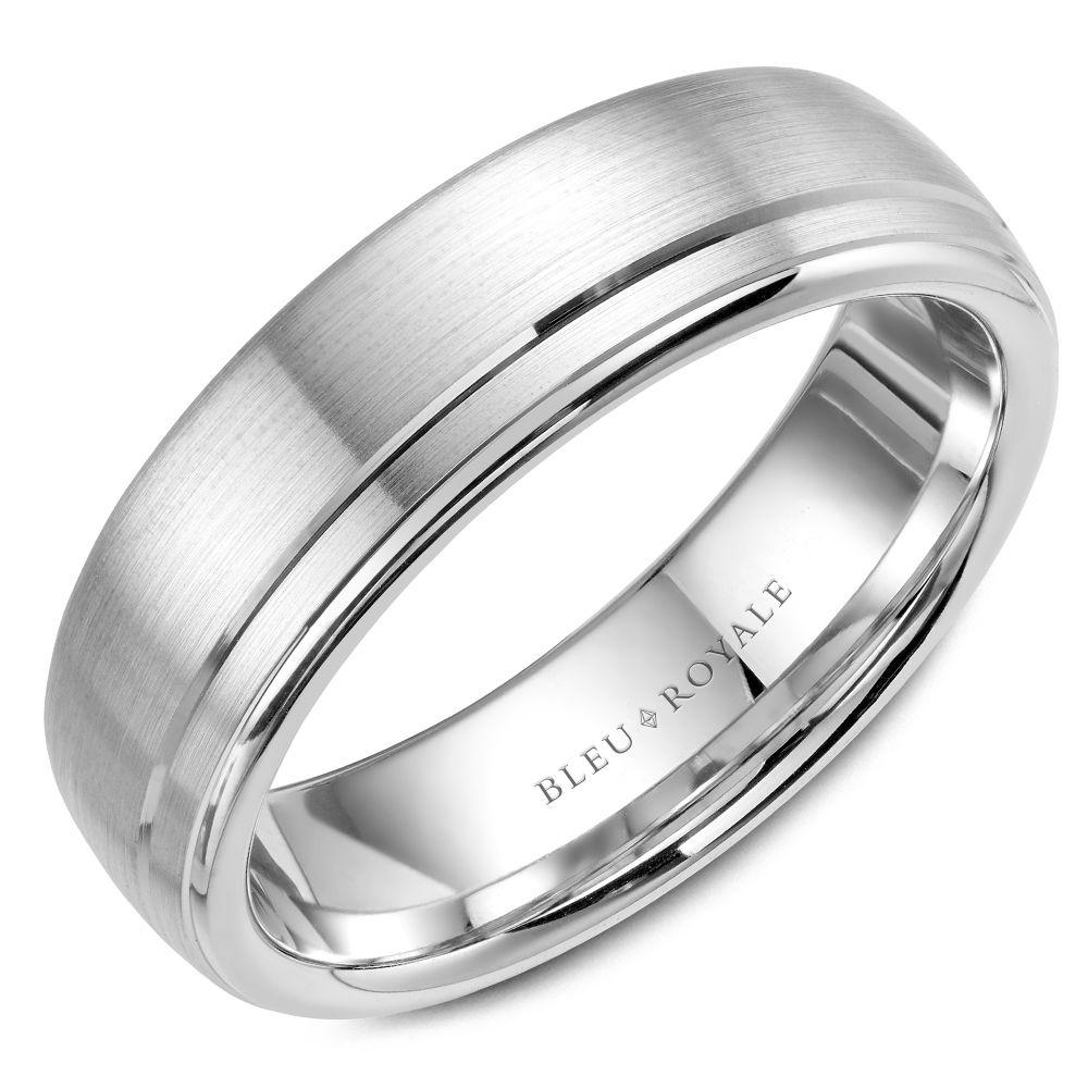 Thin Men's Designer Brushed White Gold Wedding Band