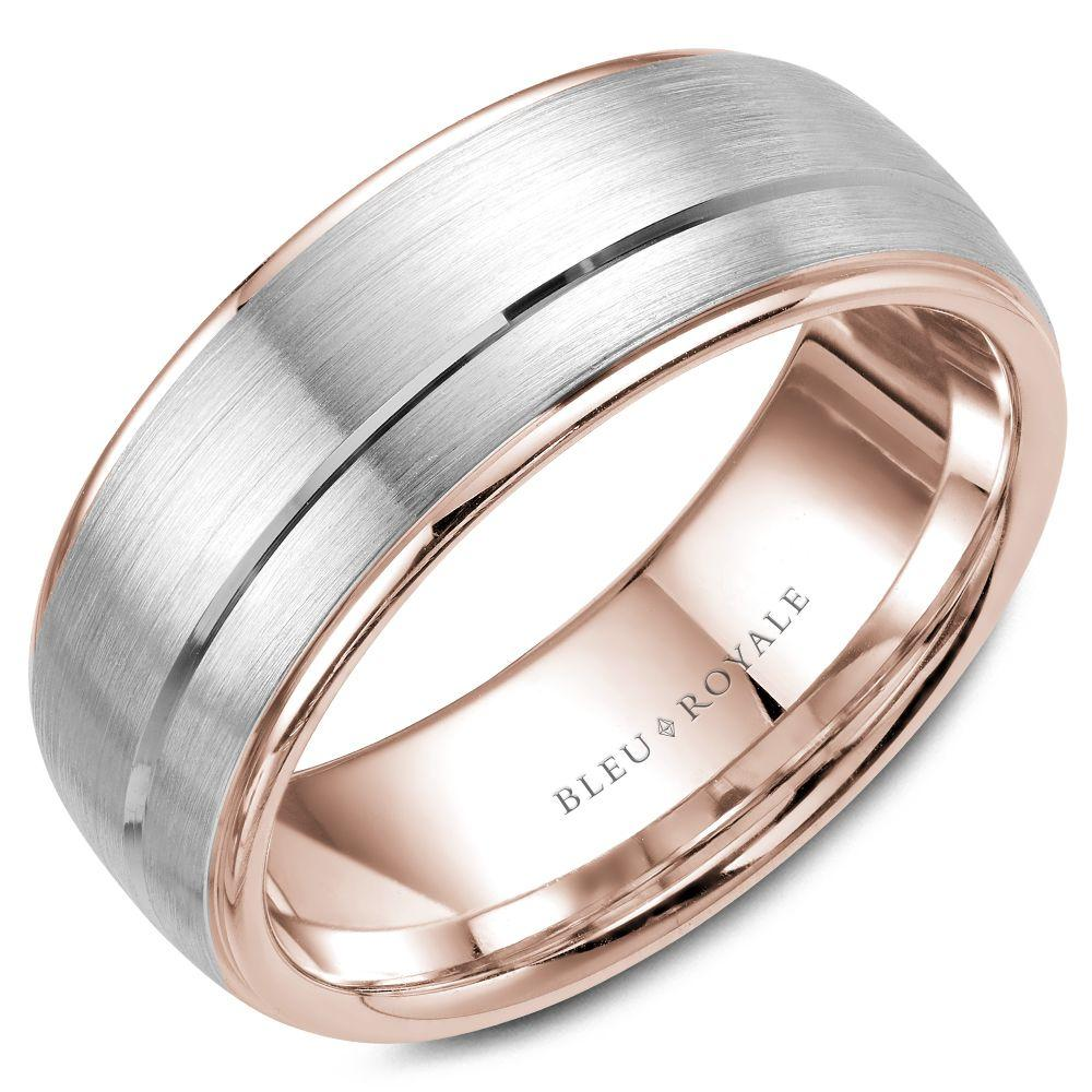 Men's Designer Brushed White and Rose Gold Wedding Band