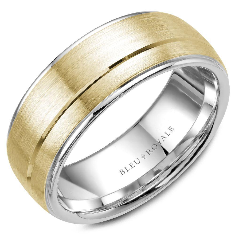 Men's Designer Brushed White and Yellow Gold Wedding Band