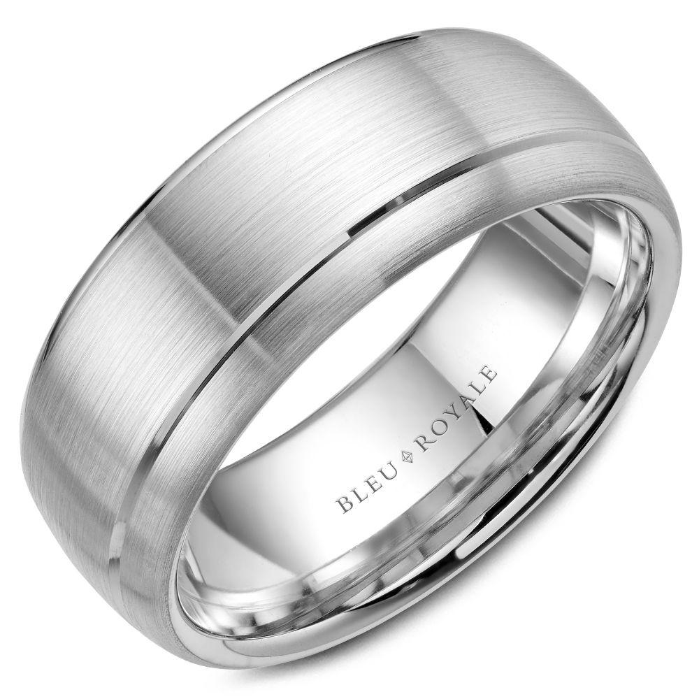 Wide Men's Designer Brushed White Gold Wedding Band