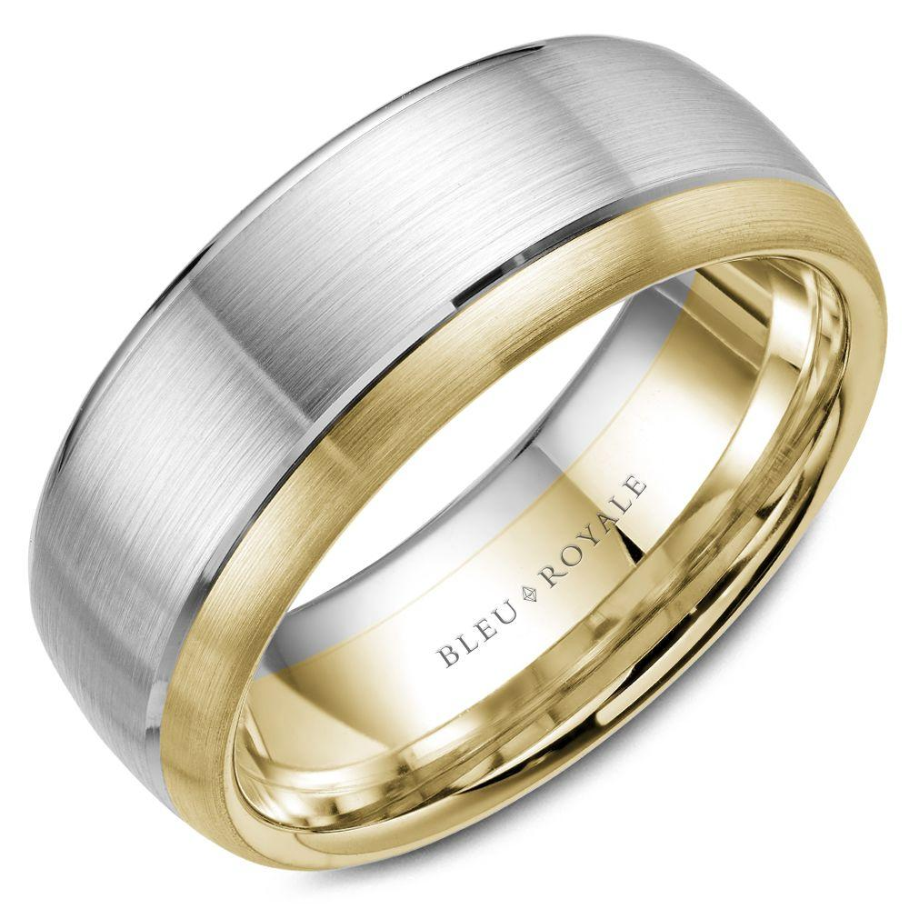 Wide Men's Designer Brushed White and Yellow Gold Wedding Band
